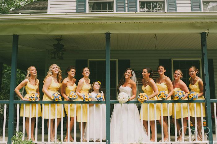 bridal party balcony photo