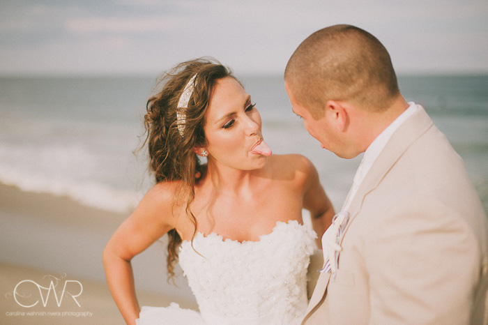 Wedding at Crystal Point Yacht Club: silly bride and groom picture