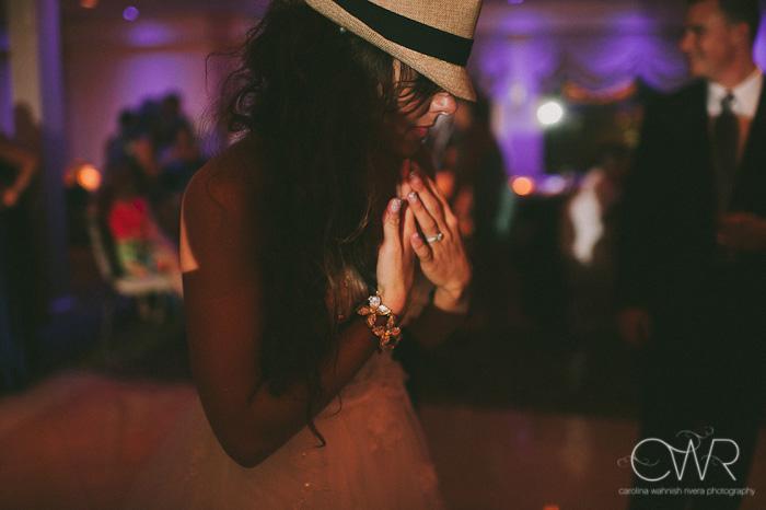 Wedding at Crystal Point Yacht Club: bride being silly