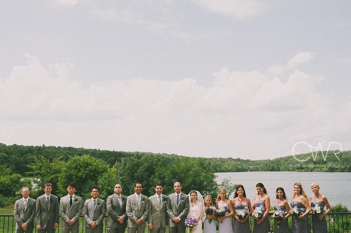 Lake House Inn Perkasie PA Wedding: bridal party by lake