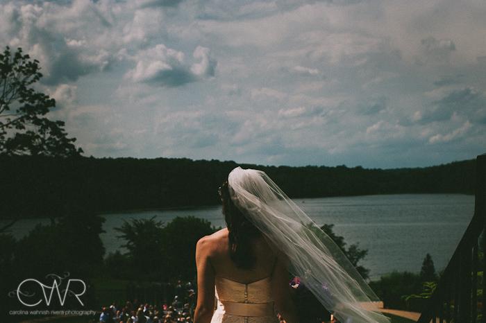 Lake House Inn Perkasie PA Wedding: bride walking down isle by lake