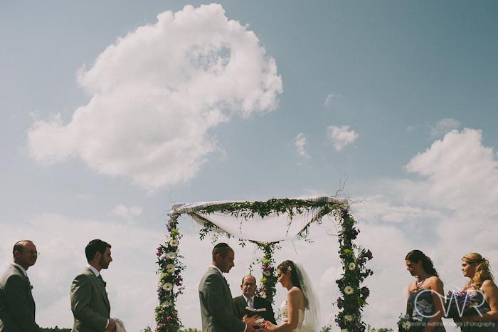 Jewish wedding ceremony at the Lake house Inn Perkasie PA: couple under chuppah