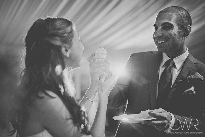 Lake House Inn Perkasie PA Wedding: couple feeding each other cupcakes