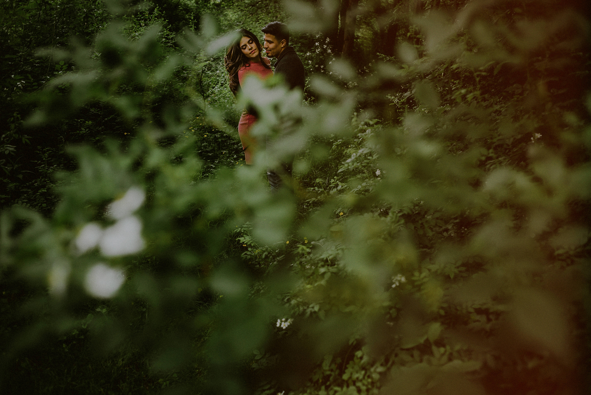 moody engagement pics in woods