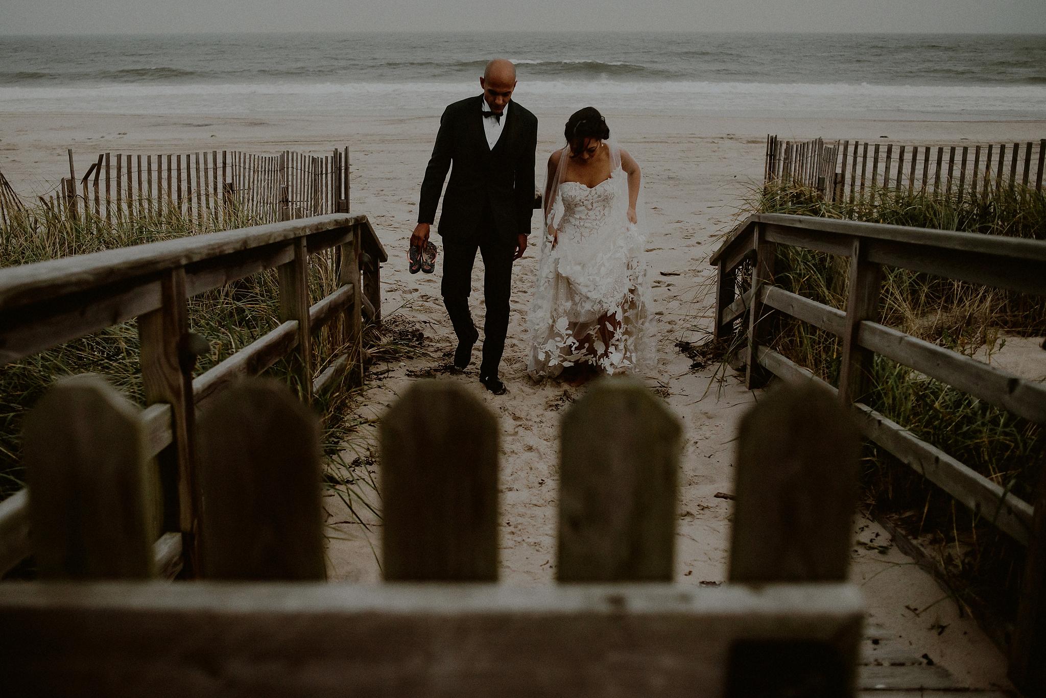 rainy beach wedding photos