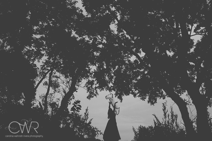NJ Trash the dress session: bride throwing up veil silhouette