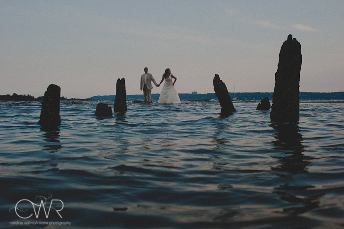 NJ Trash the dress session: bride and groom in water