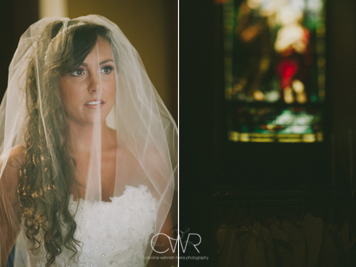 St Mary of the Lake church wedding: stained glass window