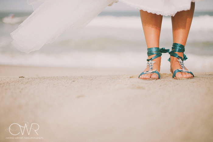 Wedding at Crystal Point Yacht Club: flat bride shoes with boat anchor theme