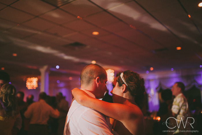 Wedding at Crystal Point Yacht Club: bride and groom dance