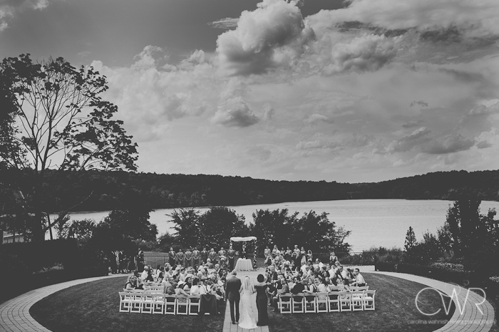 Lake House Inn Perkasie PA Wedding: outdoor lake front ceremony on a clear day