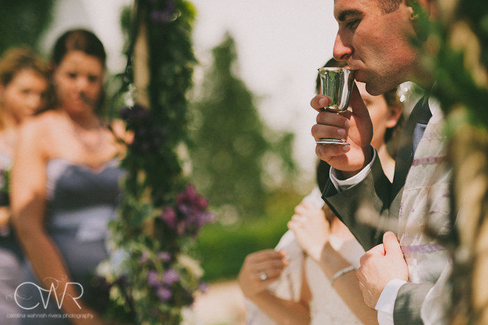 Jewish wedding ceremony at the Lake house Inn Perkasie PA: sipping wine