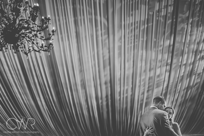Lake House Inn Perkasie PA Wedding: bride and groom first dance under chandelier and tented ceiling