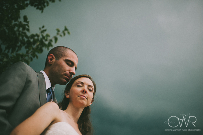 Lake House Inn Perkasie PA Wedding: bride and groom under stormy clouds portrait