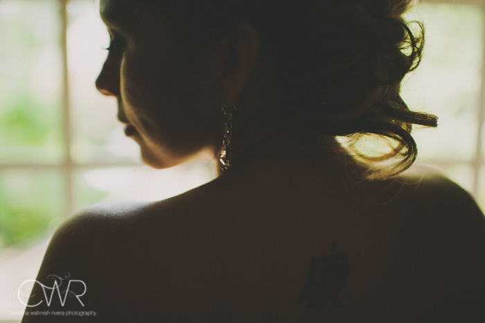 Olde Mill Inn Basking Ridge NJ Wedding: Bride silhouette