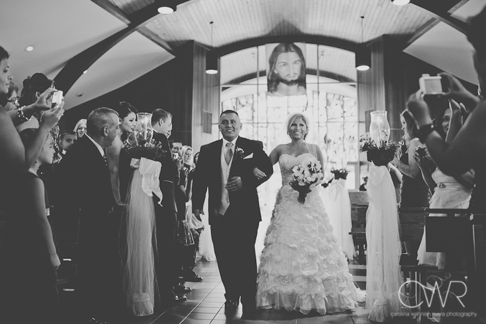Church of Saint Margaret Morristown NJ: bride walking down isle