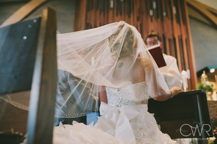 Church of Saint Margaret Morristown NJ Wedding: bride through veil