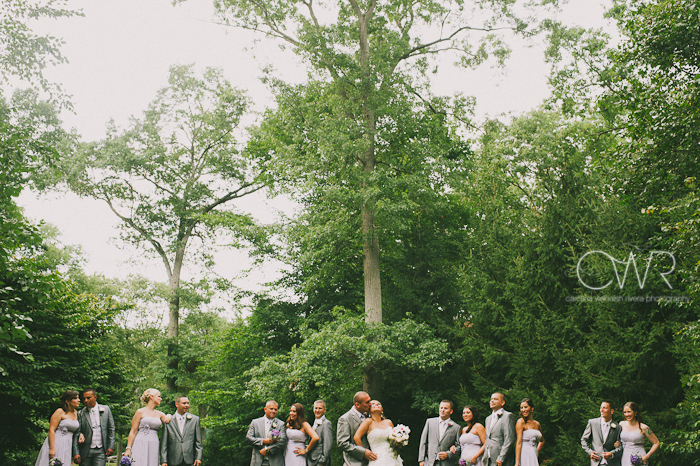 Olde Mill Inn Basking Ridge NJ Wedding: bridal party in garden