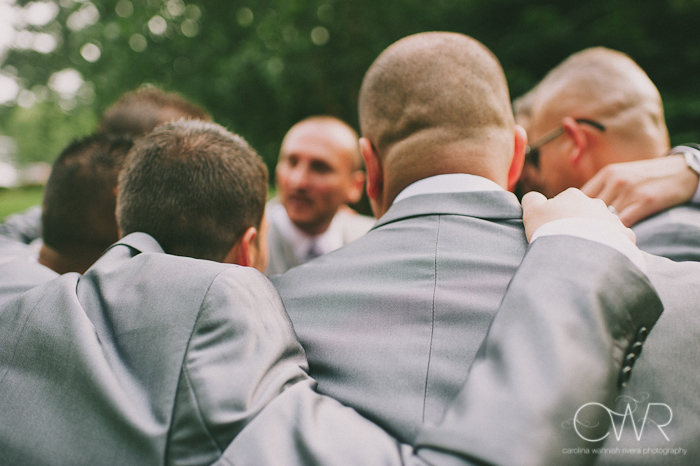 Olde Mill Inn Basking Ridge NJ Wedding: groomsmen huddle