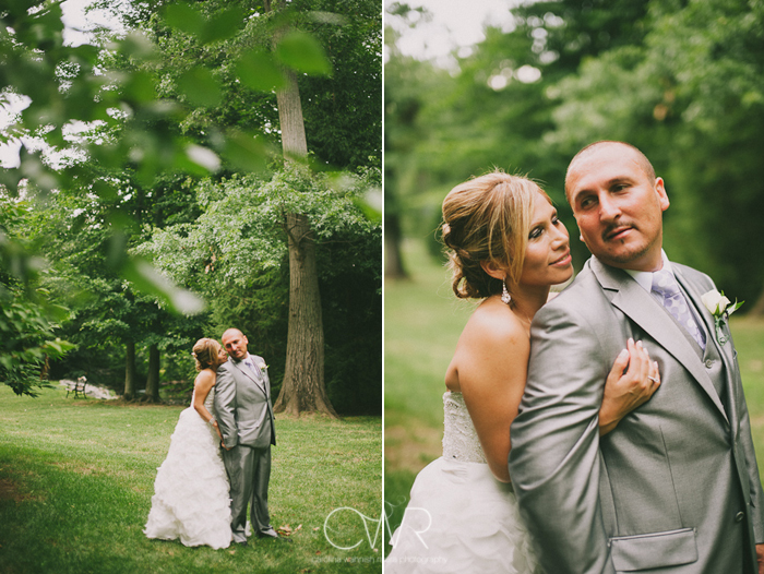 Olde Mill Inn Basking Ridge NJ Wedding: bride and groom portrait in garden