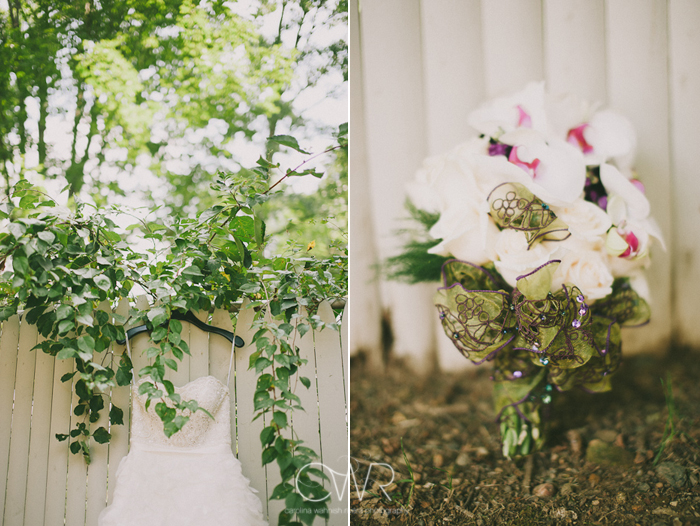 Olde Mill Inn Basking Ridge NJ Wedding: Wedding dress and bouquet