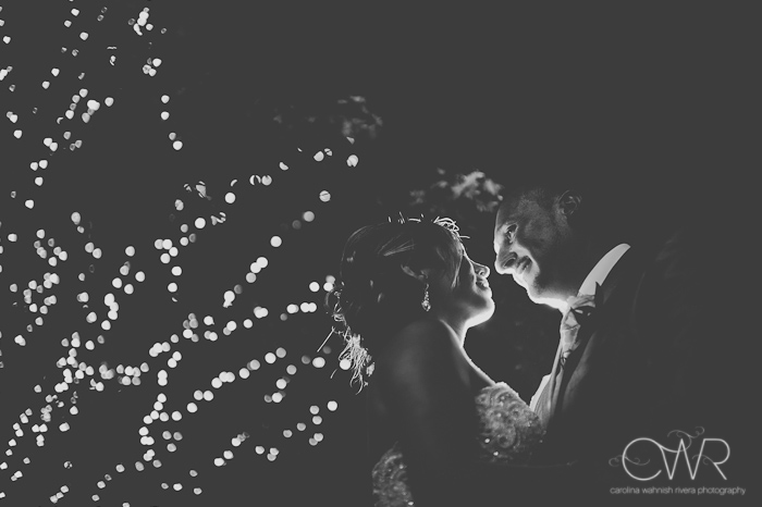 Olde Mill Inn Basking Ridge NJ Wedding: outdoor bride and groom night shot with trees lit up