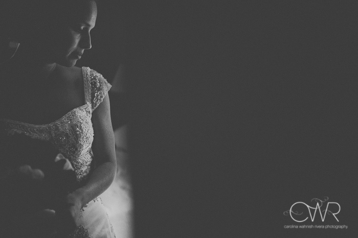 october wedding black and white portrait of bride before ceremony