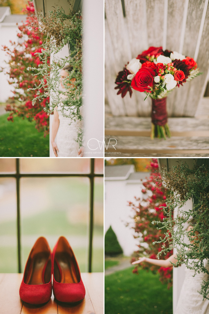 backyard wedding fall themed details and fall flower bouquet