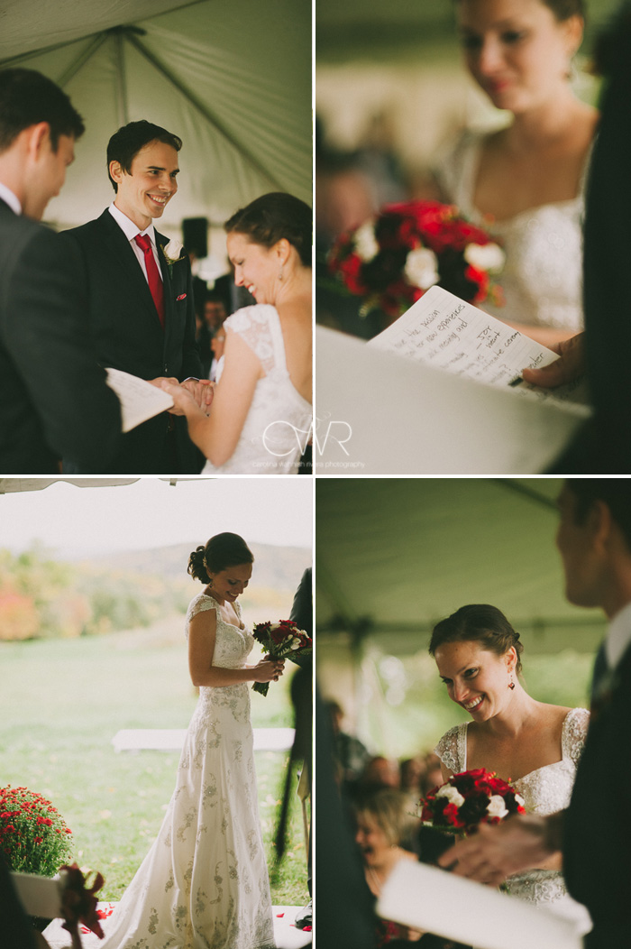 tented wedding ceremony with homemade vows