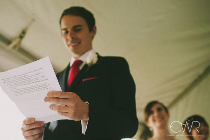 tented wedding groom's funny wedding vows