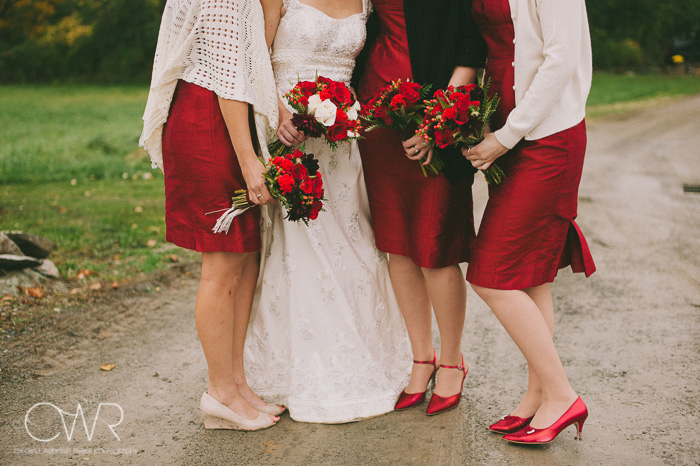 artistic wedding photos of bridesmaids in fall colors
