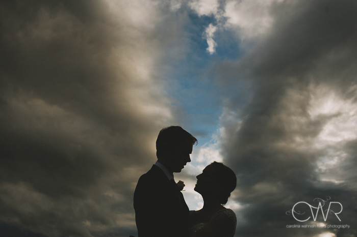 new york farm wedding creative silhouette portrait of bride and groom