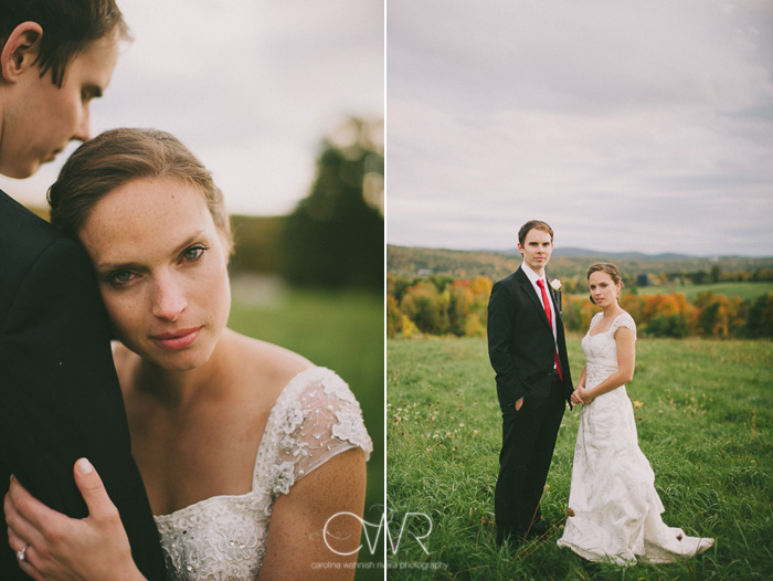 new york farm wedding bride and groom in fields with october foliage