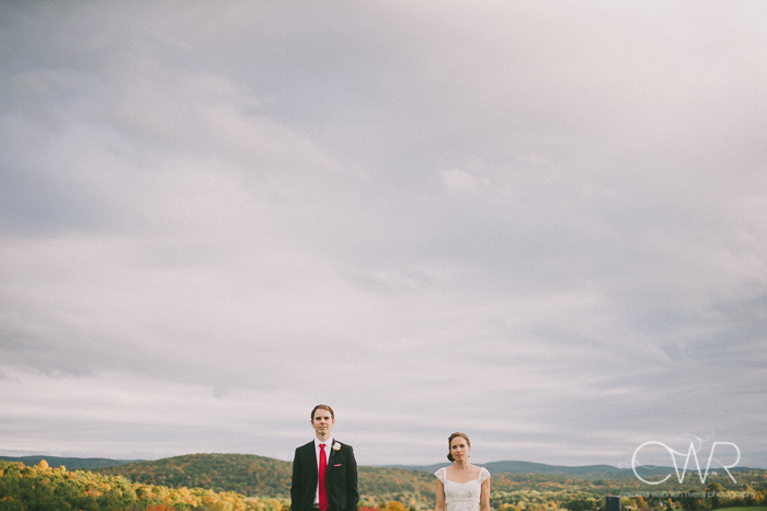 new york wedding photos in upstate ny farm, bride and groom against sky