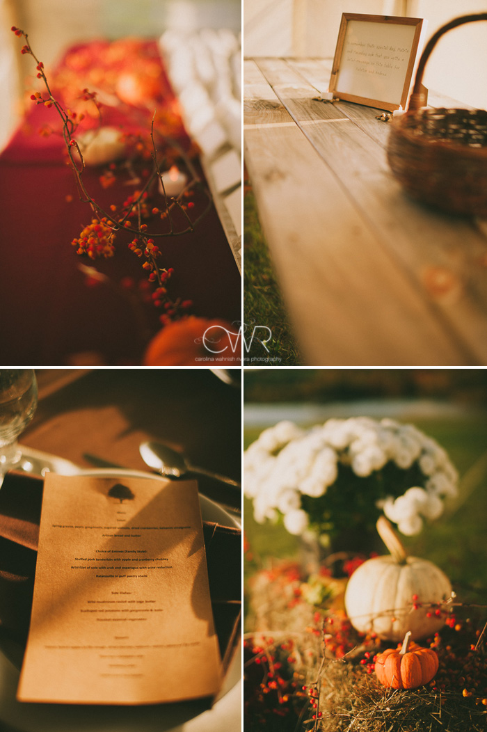 small town wedding details for fall themed wedding
