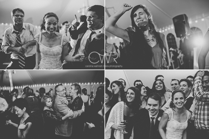 candid wedding photography in black and white of fun dancing photos
