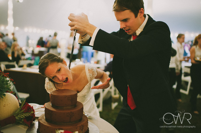 creative wedding cake cutting photo