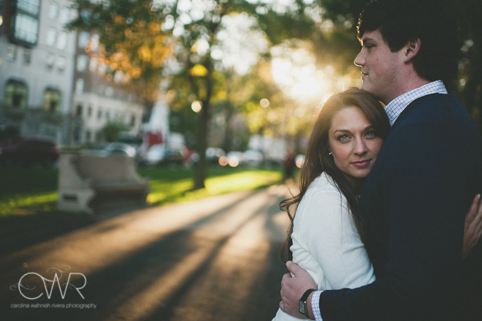 creative engagement photos of couple in Boston's back bay area