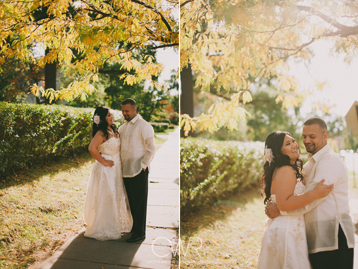 creative wedding photos of bride and groom in fall wedding at glen ridge womens club