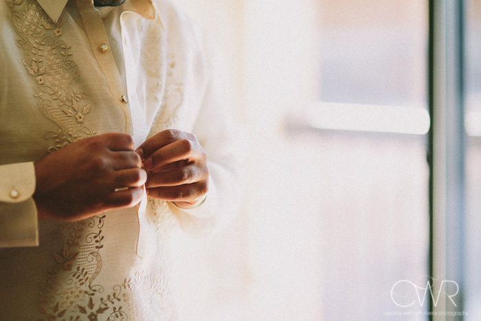 Filipino wedding photographer, detail of traditional mens wedding shirt