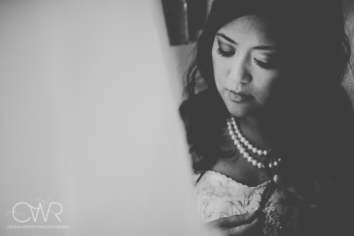 Filipino wedding photography black and white portrait of bride behind the scenes