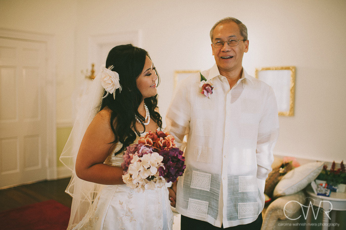 Filipino wedding photography bride and father before entering ceremony