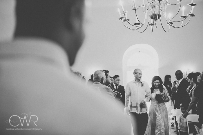 Filipino wedding photography ceremony entrance of bride and father in black and white