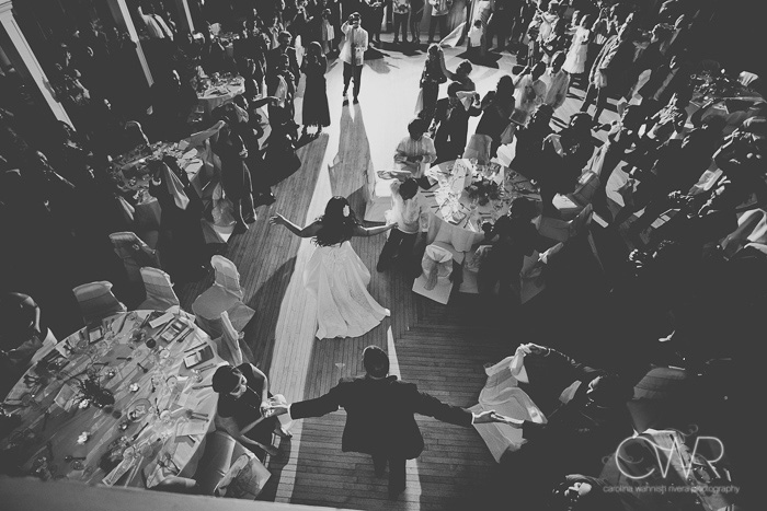beautiful wedding photography black and white grand entrance of bride and groom