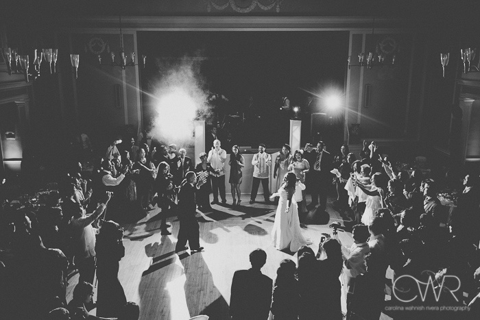 aerial view of first dance, candid wedding photography