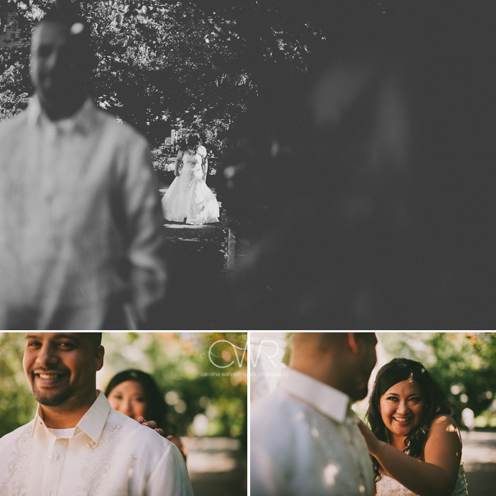 Filipino wedding photographer captures first look of bride and groom in black and white
