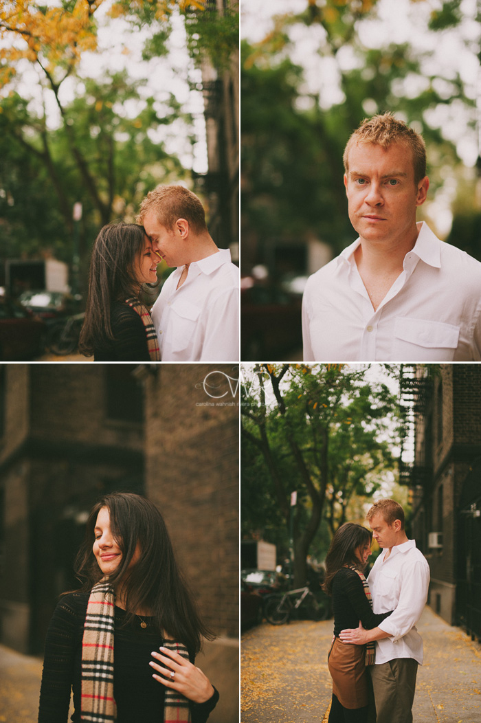 new york wedding couple portraits on tree lined nyc street