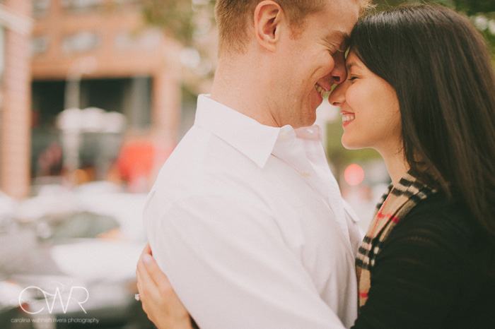 NYC engagement photos in bright and airy park of chelsea neighborhood