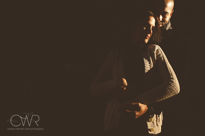nyc fine art wedding photographer - fine art dramatic lighting portrait of couple in nyc engagement photos