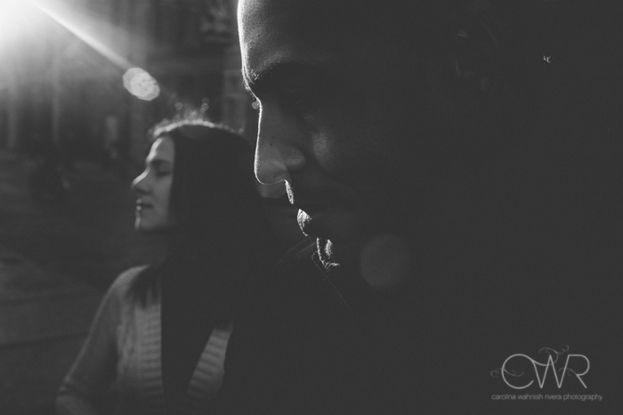 soho nyc engagement photos - creative black and white image of couple in soho nyc engagement